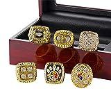 LANCHENEL Herren Europa und Amerikanische Super Bowl Pittsburgh Steelers 6 Jahre Set Meisterschaft Ringe,Größe 65 (20.7)