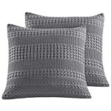 PHF Cotton Waffle Weave Euro Sham Pack of 2 Textured Soft Cozy Home Decoration Throw Pillow Cover for Bed Sofa Couch 26' X 26' Dark Grey
