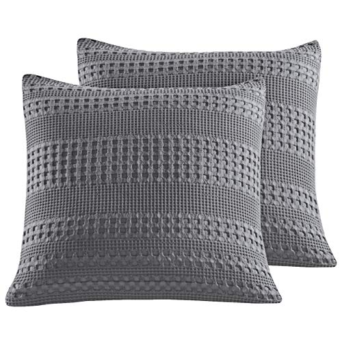 """PHF Cotton Waffle Weave Euro Sham Pack of 2 Textured Soft Cozy Home Decoration Throw Pillow Cover for Bed Sofa Couch 26"""" X 26"""" Dark Grey"""
