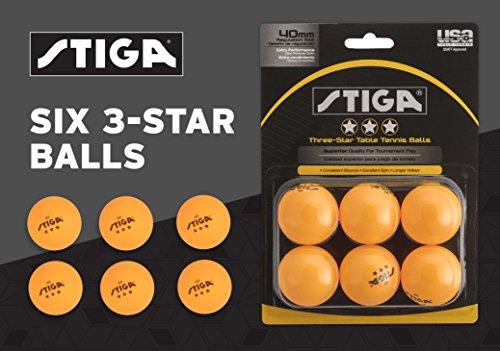 STIGA 3-Star Table Tennis Balls (Orange, 40 Mm Two 6 Packs)