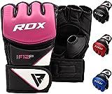 RDX Guantes MMA para Artes Marciales Entrenamiento, Maya Hide Cuero Grappling Guantillas, Bueno para Sparring, Kickboxing, Muay Thai, Saco de Boxeo, Lucha Libre y Combate Training