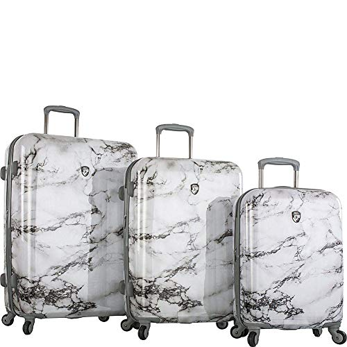 Review Heys America Colour Herringbone Fashion Spinner 3-Piece Set (White Marble)
