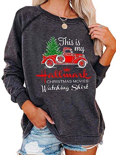 Christmas Movies Watching Long Sleeve Shirt Xmas Truck Tree This is My Xmas Watching Shirt Women Tops (Dark Grey, Large)