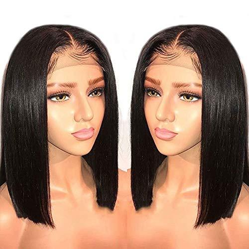 Gerade menschliche haar bob perücken für schwarze frauen brasilianisches remy haar mittelteil spitzefrontseite perücken mit babyhaar glueless gebleichte knoten natürliche farbe