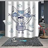 YOLIYANA Washable Home Bath Decor Waterproof Shower Curtains Naughty Cat with Fish in Striped T Shirt Anchor Pendant and Sign for Bathroom Shower