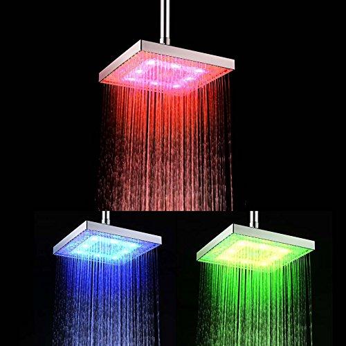 Soffione doccia 8 pollici ABS doccia a pioggia sensore di temperatura LED pioggia soffione doccia LED Doccia a mano piazza con 3 colore del LED che cambia con CE / ROHS di certificati [Classe energetica A +] LD8030-C1