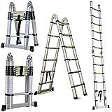 3,8 m ausziehbare Leiter, A-Rahmen (1,9 + 1,9 m) Klappleiter, Aluminium, tragbare Mehrzweck-Loftleiter, 150 kg Tragkraft, für Zuhause, Büro, Heimwerker, Bauarbeiter, Innen- und Außenbereich