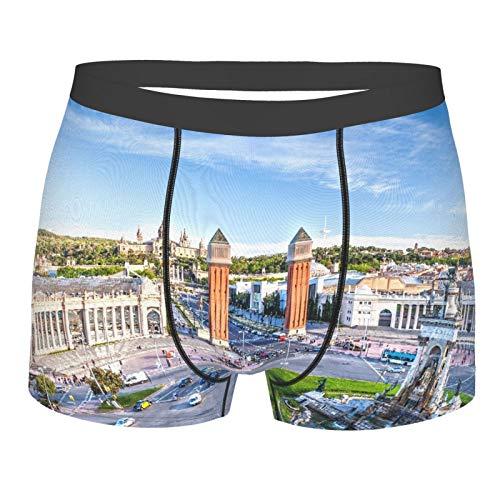 MJIAX Männerunterwäsche,Stadtansicht des Zentrums Barcelona Spanien Panorama Bus Kathedrale Brunnen Reise, Boxershorts Atmungsaktive Komfortunterhose Größe XL