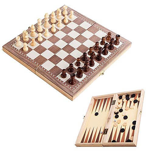 backgammon chess sets JW-YZWJ Chess Set Gift, 2 in 1 Wooden International Chess Set, Board Travel Games Chess, Backgammon Draughts Entertainment Chess, Board Game