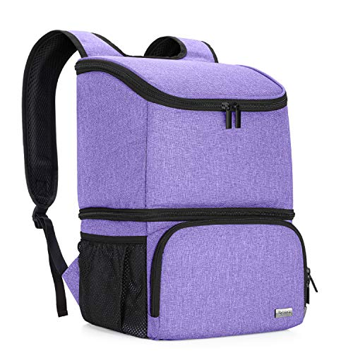 Teamoy Breast Pump Bag Backpack with Cooler Compartment for Breast Pump, Cooler Bag, Breast Milk Bottles and More, Double Layer Pumping Bag for Working Moms, Purple(Bag Only)