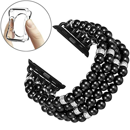Fastgo Compatible With Apple Watch Bands 38mm 40mm Women, Elastic Pearl Beaded Bracelet Replacement Strap Women Girls for IWatch SE& Series 6/ 5/4/3/2/1(Black - 38/40mm)