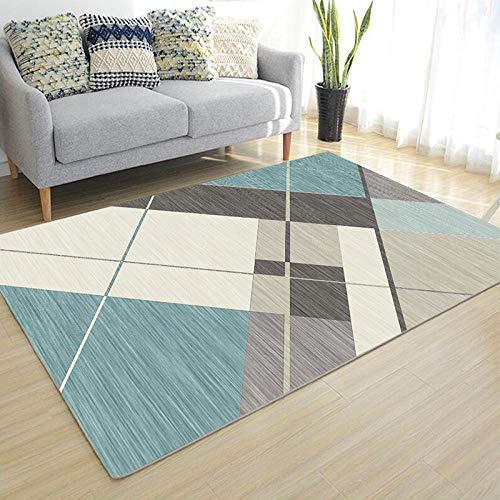 CEOTON Alfombra de salón geométrica minimalista moderna gris dormitorio sala estudio sofá alfombra lava-W064-140 x 210 cm