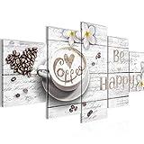 Runa Art - Quadri Caffè Cucina 200 x 100 cm 5 Pezzi XXL Decorazione Murale Design Bianca 020651c