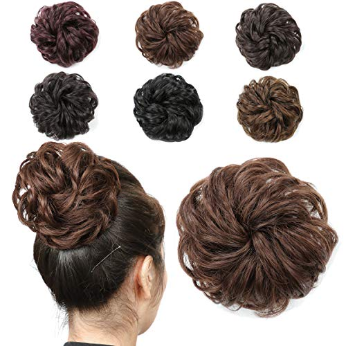 Messy Bun Hair Piece, Synthetic Hair Extensions Curly Wavy Ponytail Hairpieces with Elastic Rubber Hair Accessories for Women Girls(Chestnut)
