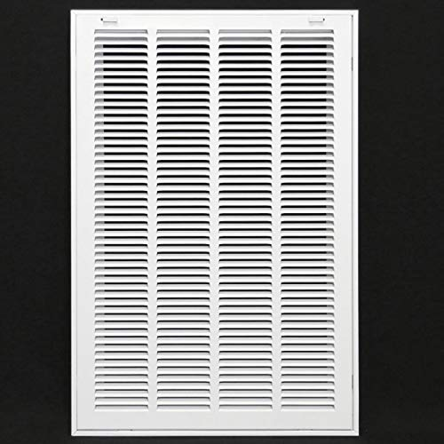 16' X 25' Steel Return Air Filter Grille for 1' Filter - Removable Face/Door - HVAC Duct Cover - Flat Stamped Face -White [Outer Dimensions: 17.75w X 26.75h]