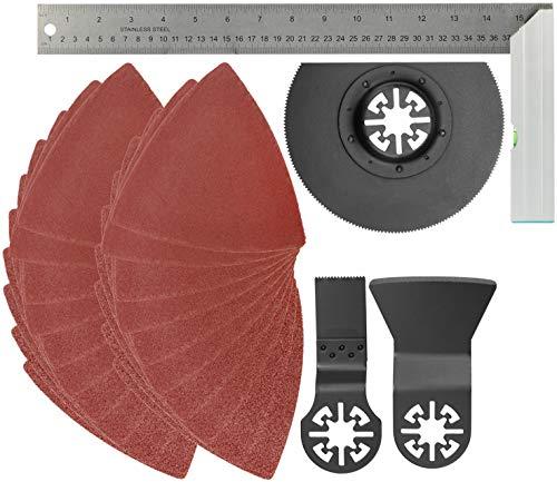 com-four® 24-teiliges Multitool Zubehör Set mit Segmentsägeblatt, Tauchsägeblatt für Holz und Metall, Schaber, Schleif-Decken mit Kletthaftung und Anlege-Winkel - 400 mm (23-teilig + Winkel)