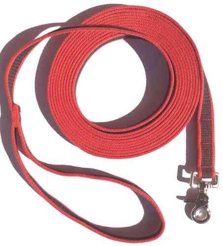 DOGS and MORE - Gummierte Schleppleine MIT oder OHNE Handschlaufe => 5 ODER 10 Meter in Rot (5 Meter MIT Handschlaufe)