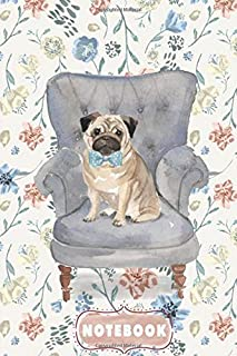 """Pocket Notebook Size 6""""x9"""" - Lined Notebook For Women to Write In Note Or Idea: Pug With Blue Polka Bow Sitting On The Blu..."""
