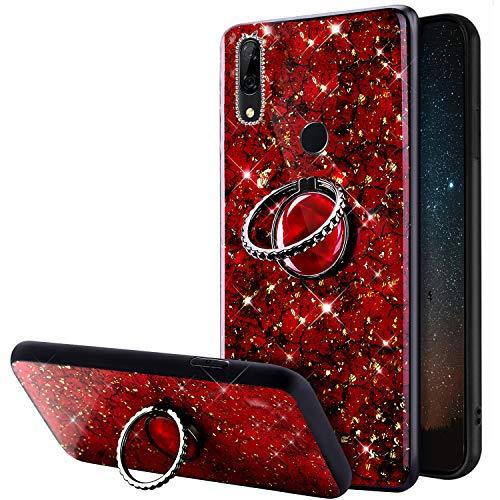 Funda de silicona brillante para Huawei P Smart Z, con soporte de anillo de 360 grados, ultrafina y suave, resistente a los golpes, color rojo