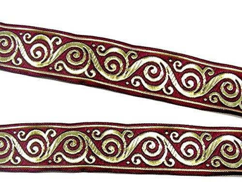 10m Keltischer Borte Webband 35mm breit Farbe: Bordeaux-Gold von 1A-Kurzwaren Si42-bogo-35