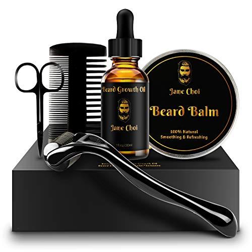 Kit crecimiento de barba, rodillo de derma para barba + suero activador de crecimiento de barba + bálsamo para barba + peine para barba + tijeras para barba 5 en 1 regalo la barba