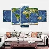 YANCONG Cuadros En Lienzo Mapa del Mundo De National Geographic Mural Enmarcado 5 Piezas 150X80Cm(A)