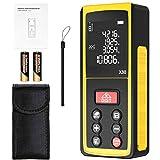 Medidor Laser, papasbox 80m/262ft Medidor Láser de Distancia con Sensor de Ángulo Electrónico,99 Datos, Mida Distancia, Área y Volumen, LCD Pantalla Reiluminada de 4 Líneas- Precisión 2mm