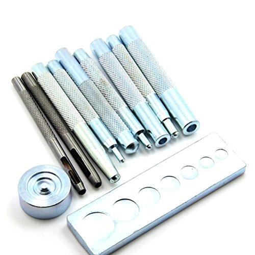 WINOMO 11pcs DIY Lederhandwerk Handwerk Werkzeug Die Punch Snap Kit Rivet Setter mit Basis für Punsch Loch