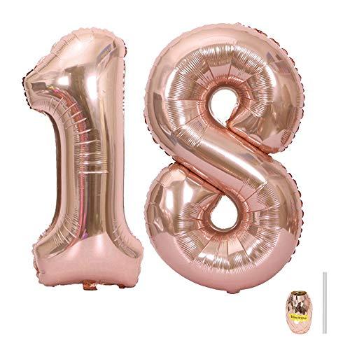 Huture 2 Luftballons Zahl 18 Figuren Aufblasbar Helium Folienballon Große Folienmylar Ballons Riesen Roségold Ballons 40 Zoll Luftballons Zahl für Geburtstag Party Dekoration Abschlussball XXL 100cm