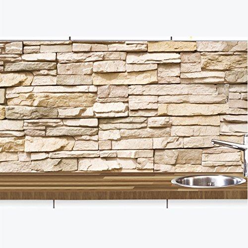 KLINOO Küchenrückwand aus Folie in Steinoptik als Spritzschutz - zuschneidbar und erweiterbar - 97cm x 68cm (Naturstein beige)
