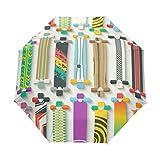 SUHETI Paraguas automático de Apertura/Cierre,Varios Patrones sin Fisuras de Longboards,Paraguas pequeño Plegable a Prueba de Viento, Impermeable