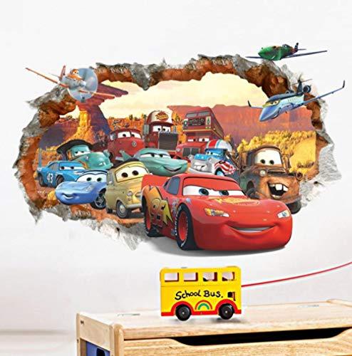 Pegatinas De Pared Cartoon Cars 3D Mural Calcomanía Pared Cartel Vinilo 23x35inch(60x90cm)