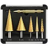 V VONTOX Punte a Gradini 5 pcs, Punte Coniche HSS 4241& Rivestita in Titanio, Set di Punte a Gradini con Punzone Centrale Automatico, 4-12/20/32mm,5-35mm,3-13mm per Ferro Plastica Metallo Alluminio