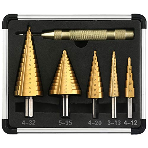 V VONTOX Step Drill 5pcs, High Speed Steel 4241Titanium Coated Cone Step Drill Bit with Automatic Center Punch, for DIY Plastic Wood Metal Aluminum Iron