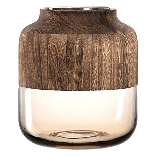 Leonardo Colletto Blumen-Vase, handgefertigte Deko-Vase in Braun, runde Tisch-Vase mit Holz-Aufsatz, Höhe: 260 mm, 029903
