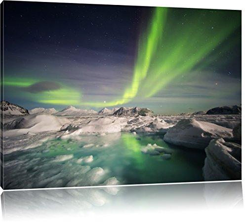 gewaltiges Polarlicht, Format: 120x80 auf Leinwand, XXL riesige Bilder fertig gerahmt mit Keilrahmen, Kunstdruck auf Wandbild mit Rahmen, günstiger als Gemälde oder Ölbild, kein Poster oder Plakat