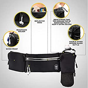 SOLA WELL Running Belt with Water Bottle Holder - Waist Bag With Extender and NO BOUNCE for Jogging / Hiking / Cycling - Walking Hydration Fanny Pack - iPhone Carrier For Plus Size Phones – Sport Pouch for Women and Men