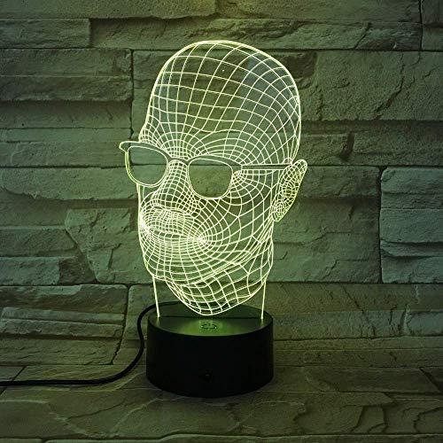 Gafas para hombre Lámpara de ilusión 3D Luz de noche 3D para niños Niñas Lámpara de escritorio de mesa 16 Lámpara de decoración que cambia de color Regalos Festival de cumpleaños Navidad para ado
