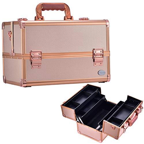 Joligrace Maletín Maquillaje Grande Profesional Vacío Beauty Case Neceser Maquillaje Caja Organizador de Viajer Joyero y Manicura Cosméticos con Bandolera y Cerradura 34x21.5x23cm,Dorado Rosa