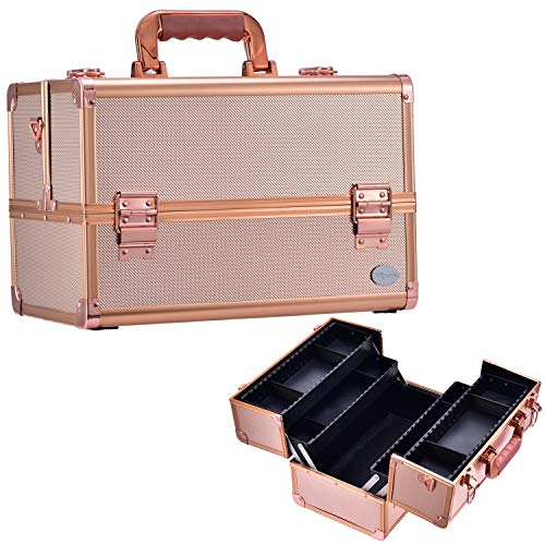 Joligrace Große Kosmetikkoffer Beauty Case Kosmetik-Makeup-Koffer Multikoffer Friseurkoffer Schminkkoffer Transportkoffer Etagenkoffer mit Schultergurt Schwarz 34x21.5x23cm, Roségold