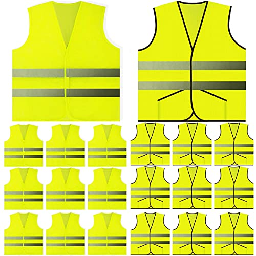20 Pack Yellow Safety Vest - Pocket Vest and Mesh Safety Vest (10 of Each)