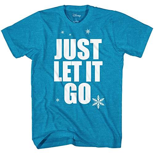Disney Frozen Elsa Just Let It Go Disneyland Graphic Adult T-Shirt(Heather Turquoise,XXL)