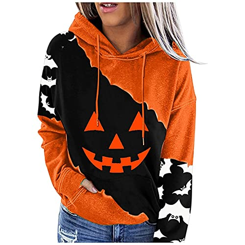Orange Trendy Halloween Clothes for Women Fun Print Color Block Long Sleeve Pocket Hoodie Teen Girls Oversized Winter Warm Loose Lightweight Hooded Open Front Cardigan Tops Pullover(B Black,X-Large)