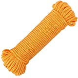 FANGYUAN 90 ft φ 1/4 inch (7mm) Nylon Poly Rope Cord Flag Pole Polypropylene Clothes Line Camping Utility Good for Tie Pull Swing Climb Knot (Gold)