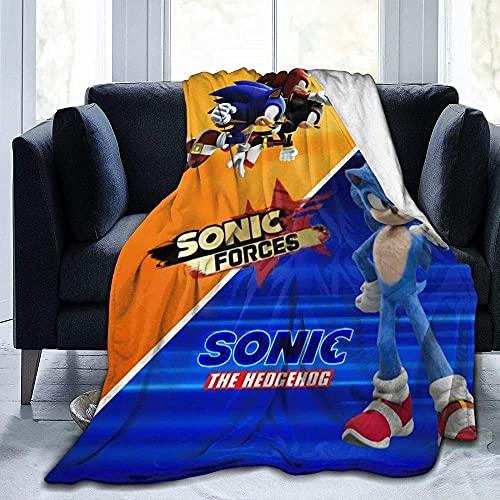GAMESBD Dibujos Animados Colcha Sonic The Hedgehog Manta de Abrazar Almuerzo Suave Manta de Sofá Manta de Picnic de Viaje Regalo para Adolescentes 100 * 150 Cm