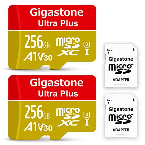 Gigastone - Scheda di Memoria MicroSDXC da 128GB e Adattatore. U3 A1 V30, Fino a 100 MB/s di Lettura, 50 MB/s di Scrittura per videocamere Nintendo Dashcam GoPro, Samsung Canon Nikon DJI Drone