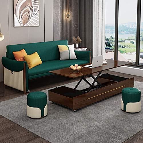 Sofá Cama De Madera Maciza, Sofás Extraíbles Modernos, Sofá Cama Doble Plegable Multifuncional Convertible, para Muebles De Sala De Estar,Verde,1.42M