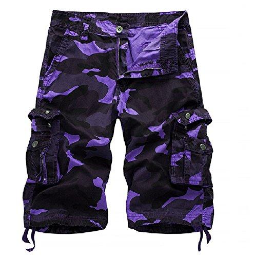 Elonglin Militaire Cargo Shorts Bermudas Hommes Pantacourt Camouflage Vintage Eté Durable Outdoor Casual Coton Multicolore(sans Ceinture) Violet Taille 42.5 inch(Asie 40)