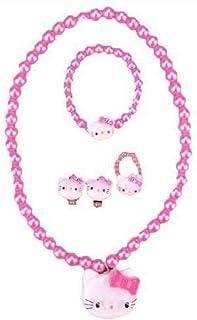 مجموعة هدايا مجوهرات للبنات من روك يو إل سي قلادة وردية هالو كيتي - سوار - حلقة - مشابك شعر