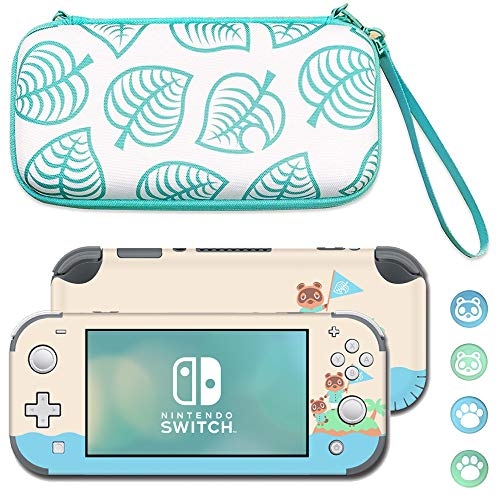 BelugaDesign Leaf Switch Lite Bundle   Green Blue White Compatible with Nintendo Switch Lite Accessories Set   Carrying Case, Skin, Thumb Grips